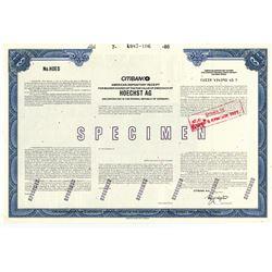 Hoechst AG 1986 Specimen ADR Stock Certificate