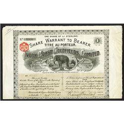 Ivory Coast Goldfields, Ltd. 1902 I/U Share Certificate.