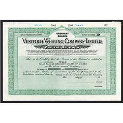 Vestfold Whaling Co. Ltd. 1936 Specimen. Share Certificate.