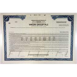 Virgin Group PLC 1987 Specimen ADR Stock Certificate - Richard Branson's Company.