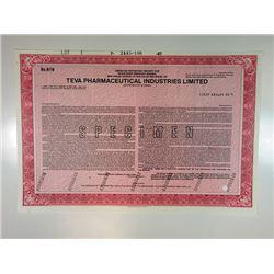 Teva Pharmaceutical Industries Ltd., 1987 Specimen Stock Certificate