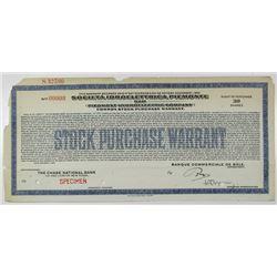 Piedmont Hydroelectric Co. 1926 Specimen Stock Purchase Warrant