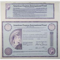 American Express International Fund 1969 Specimen Stock Certificate