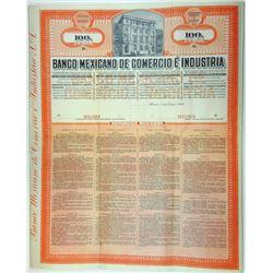 Banco Mexicano De Comercio E Industria, 1909 Specimen Share Certificate Rarity