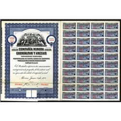 Compana Minera Chontalpan y Anexas, 1921 Specimen Share Certificate.