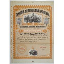 Compania Industrial Manufacturera 1884 Specimen Share Certificate.
