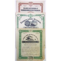 Mexican Railroad Share Certificate Trio, 1899-1921