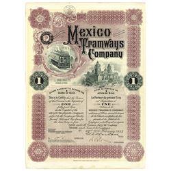 Mexico Tramways Co., 1933 I/U Share Certificate