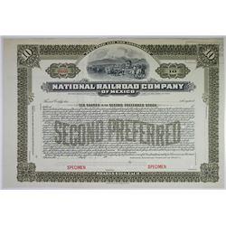 National Railroad Company of Mexico, 1902 Specimen Stock Certificate.