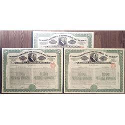 National Railways of Mexico, 1907 Stock Certificate Trio