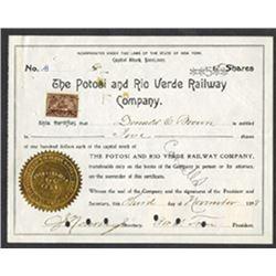 Potosi and Rio Verde Railway Co., 1898 I/C Stock Certificate.