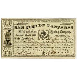 San Jose De Vantanas Gold and Silver Mining Co., 1864 I/U Stock Certificate.