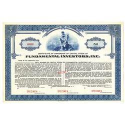 Fundamental Investors, Inc., ca.1940-50's Specimen Stock Cert., VF with coupons