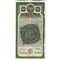 Republic of Poland, 20 Year 6% U.S. Dollar, 1920 Specimen Gold Bond with Additional Gold Clause.