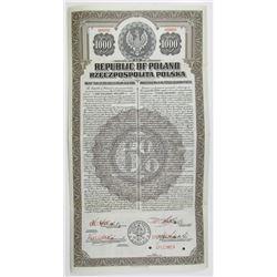 Republic of Poland, 20 Year 6% U.S. Dollar 1920 Specimen Bond