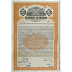 Republic of Poland, Stabilization Loan of 1927 Specimen Bond