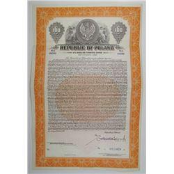 "Republic of Poland 1936 ""3% Dollar Funding"" Specimen Bond"
