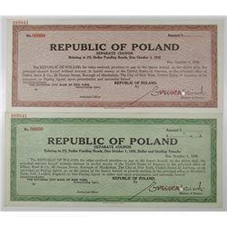"Republic of Poland, 1938 Specimen ""Separate Coupon Relating to 3% Dollar Funding Bond"" Pair"