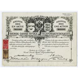 Svensk-Dansk-Ryska Telefonaktiebolaget, 1909 I/U Stock Certificate.
