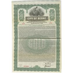 City of Berne, Switzerland 1920  Specimen Bond Rarity