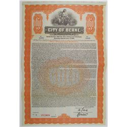 City of Berne, Switzerland 1920 Specimen Bond
