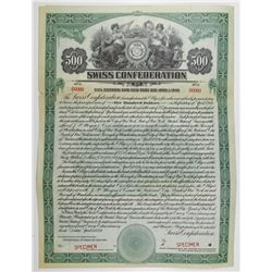 Swiss Confederation, 5 1/2% External Loan Gold Bond, 1924 Specimen Bond
