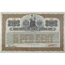 Anglo-French Five-Year 5% External Loan 1915 Specimen Bond