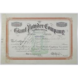 Giant Powder Co. 1919 I/C Stock Certificate