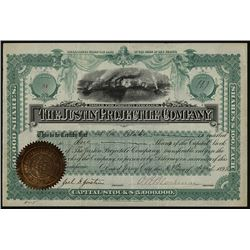 Justin Projectile Company, 1892 I/U Ammunition Manufacturer Stock Certificate.