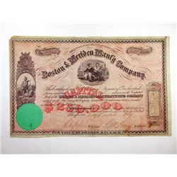 Boston & Meriden Manf'g Co., 1869 I/U Stock Certificate.