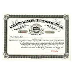 Exeter Manufacturing Co., 1900-30 Specimen Stock Certificate