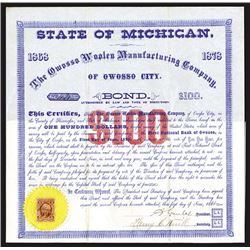 Owosso Woolen Manufacturing Co., of Owosso City, 1868 I/U Bond Certificate.