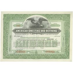 "American Smelting and Refining Co., 1920-30's ""ASARCO"" Specimen Stock Certificate"