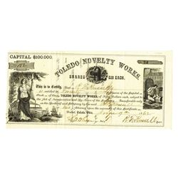 Toledo Novelty Works 1862 I/U Stock Certificate