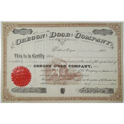 Oregon Door Co. 1885 I/U Stock Certificate, Serial #1