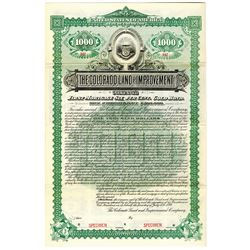 Colorado Land and Improvement Co. 1892 Specimen Bond Developed Glenwood Hot Springs.