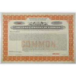 Land Company of Florida, 1910-30 Specimen Stock Certificate