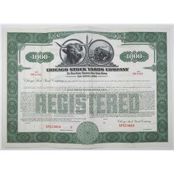 Chicago Stock Yards Co. 1941 Specimen Bond