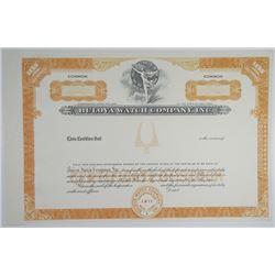 Bulova Watch Co 1940-50s Proof Stock Certificate <100 Shrs XF SCBN Cut Close