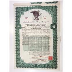 Alaska Consolidated Copper Company - Alaska Copper Corp., 1917 I/U Bond