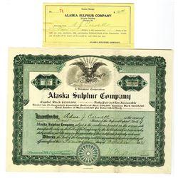 Alaska Sulphur Co., 1921 I/U Stock Certificate and Interim Receipt Pair