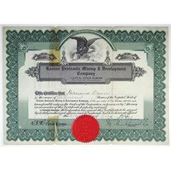 Alaska. Kasaan Peninsula Mining & Development Co. 1920 I/U Stock Certificate