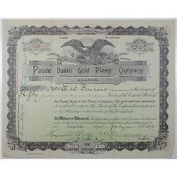 Alaska. Pande Basin Gold Placer Co. 1898 I/U Stock Certificate
