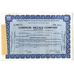 Carnegie Metals Co., 1937 and 1938 Stock Certificate Pair