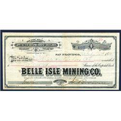 Belle Isle Mining Co., 1880 I/U Stock Certificate.