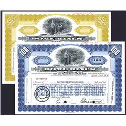 Dome Mines Ltd, 1960-70's Specimen Stock Certificate Pair.