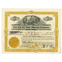 Up To Date Mining Co., 1917 700 Shrs Capital Stock I/U Certificate, XF Goes