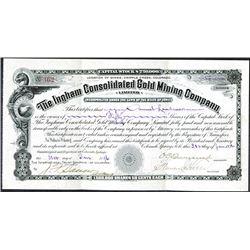 "Ingham Consolidated Gold Mining Co., 1896 ""Cripple Creek"" I/U Stock Certificate."