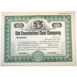 Old Foundation Coal Co., ca.1900-1920 Specimen Stock Certificate