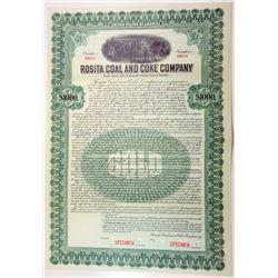 Rosita Coal and Coke Co. 1919 Specimen Bond